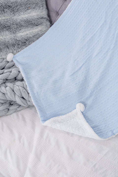 Blue Cable Pom Pom Blanket - Jacob Matthews