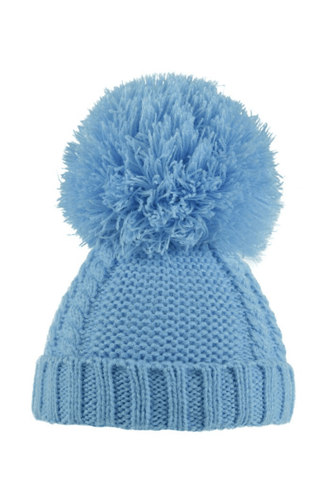 Blue Cable Pom Pom Hat - Jacob Matthews