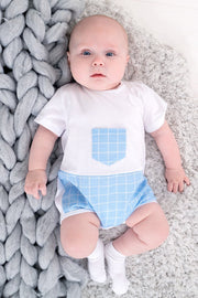 Blue Check Pocket Romper - Jacob Matthews