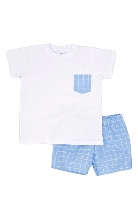Blue Check Pocket Top And Shorts - Jacob Matthews