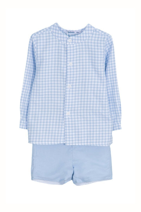 Blue Check Shirt And Shorts Outfit - Jacob Matthews