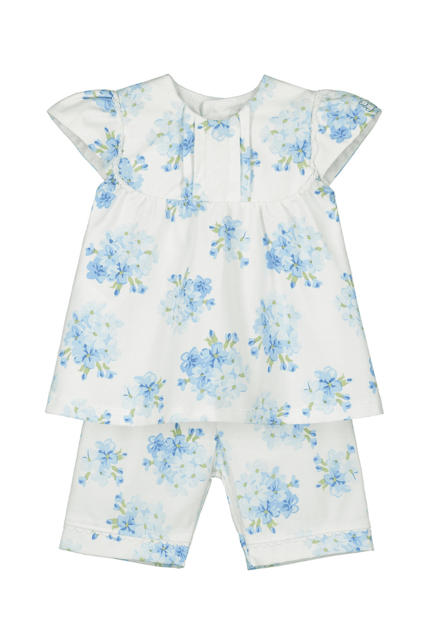 Blue Floral Outfit With Hairband - Jacob Matthews