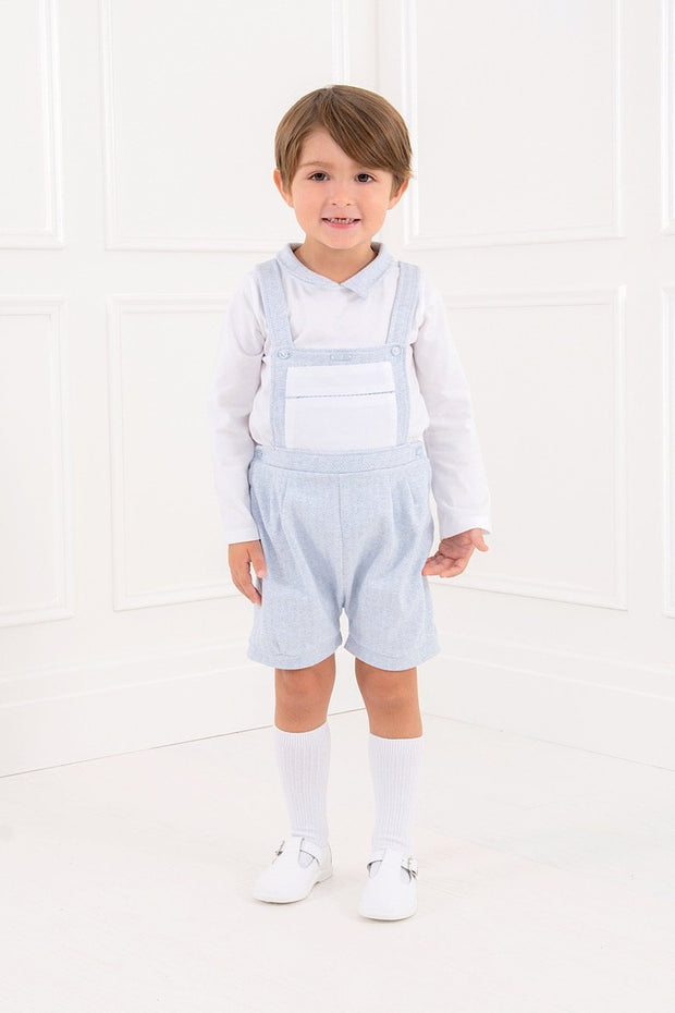 Blue Herringbone Soldier Dungarees And Top - Jacob Matthews