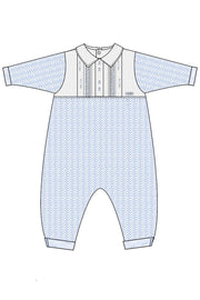 Blue Herringbone Soldier Panel Outfit - Jacob Matthews
