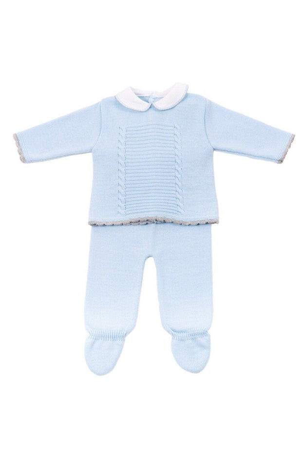 Blue Knitted Cable Two Piece Set - Jacob Matthews