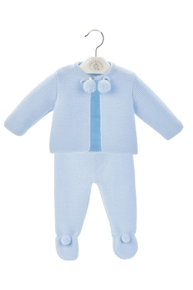 Blue Knitted Pom Pom Two Piece Set - Jacob Matthews