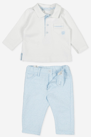 Blue Pocket Polo And Trousers - Jacob Matthews