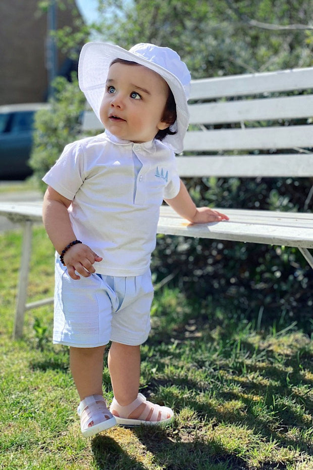 Blue Sailboat Embroidered Polo And Shorts - Jacob Matthews