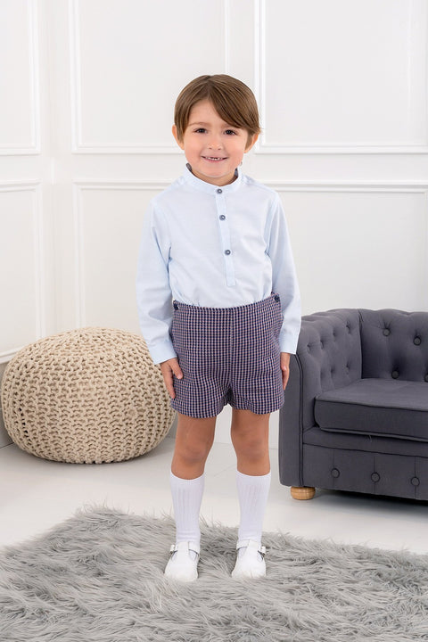 Blue Shirt With Houndstooth Shorts - Jacob Matthews