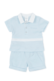 Blue Stripe Top And Shorts Outfit - Jacob Matthews