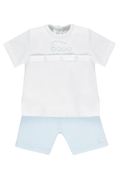 Blue Train Embroidered Top And Shorts - Jacob Matthews