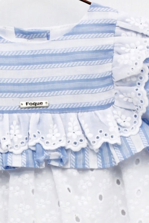 Blue Woven Stripe Broderie Anglaise Dress - Jacob Matthews