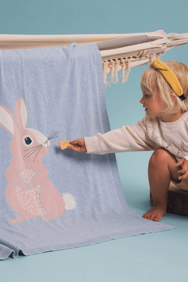 Bunny Knitted Blanket - Jacob Matthews