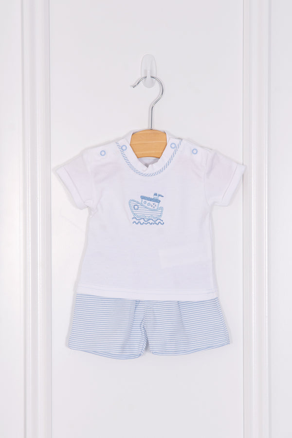 Sardon Blue Stripe Embroidered Sailboat Top And Shorts