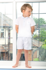 Jacob Matthews Blue Stripe Polo And Shorts