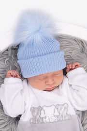 First Size All Blue Ribbed Fur Pom Pom Hat - Jacob Matthews