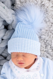First Size Blue And White Ribbed Fur Pom Pom Hat - Jacob Matthews