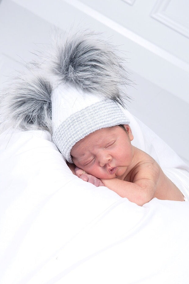 First Size Grey Ribbed Fur Double Pom Pom Hat - Jacob Matthews