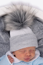 First Size Grey Ribbed Fur Pom Pom Hat - Jacob Matthews