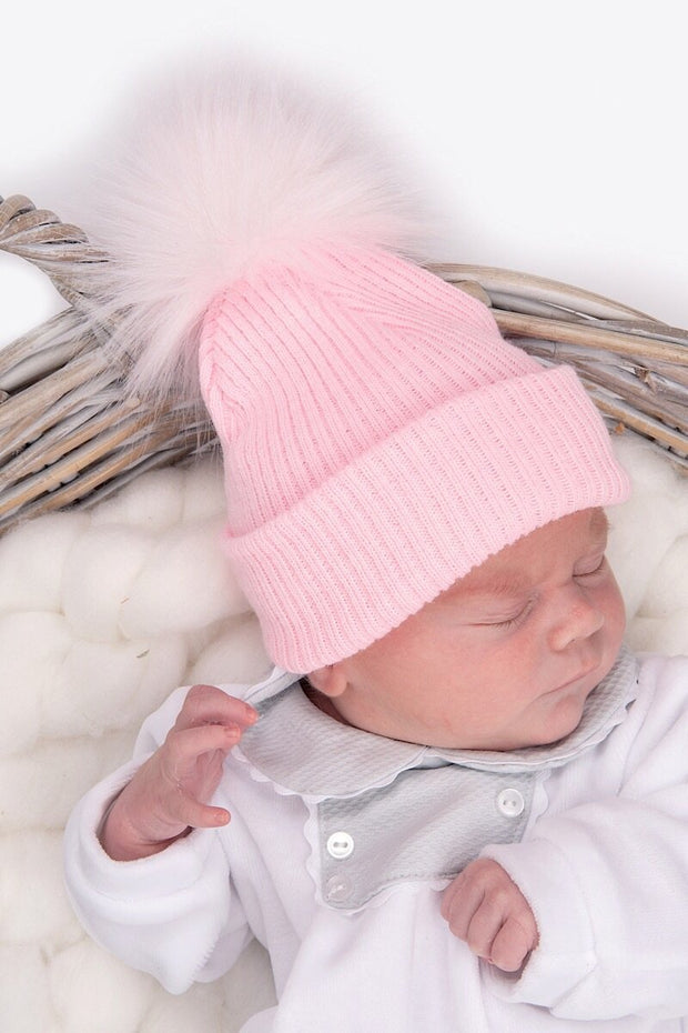 First Size Pink Ribbed Fur Pom Pom Hat - Jacob Matthews