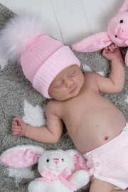 First Size Pink With White Ribbed Fur Hat - Jacob Matthews