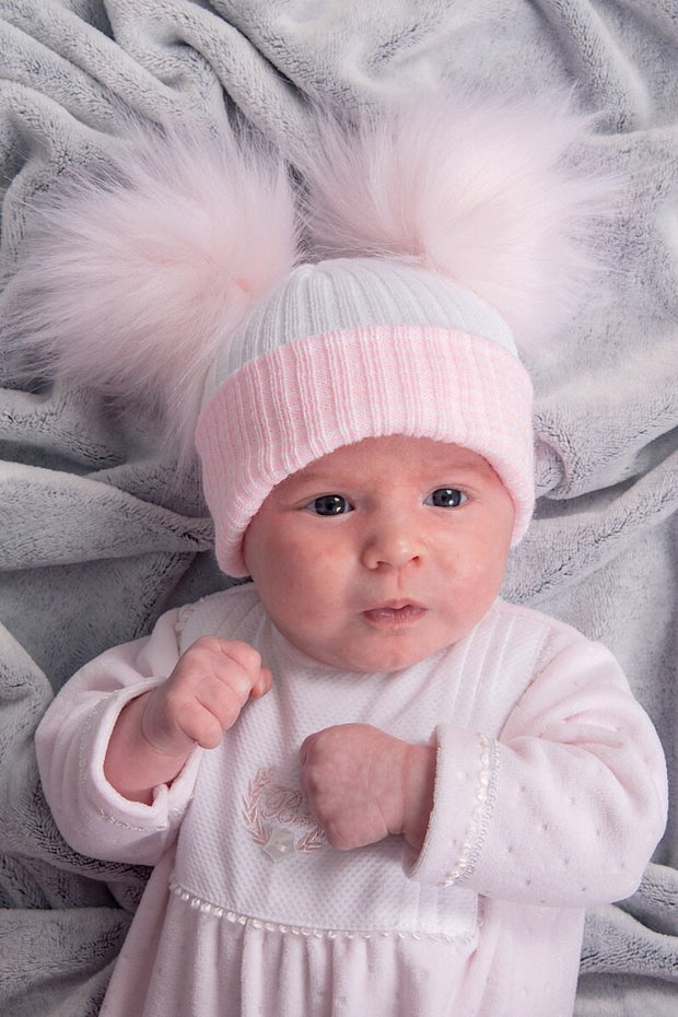 First Size White And Pink Ribbed Fur Double Pom Pom Hat - Jacob Matthews
