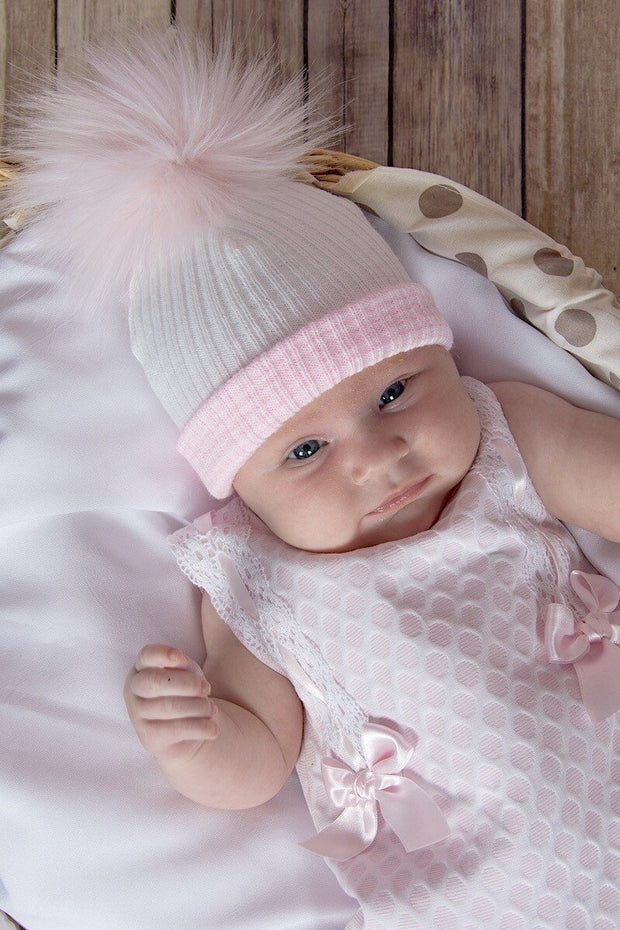 First Size White And Pink Ribbed Fur Pom Pom Hat - Jacob Matthews