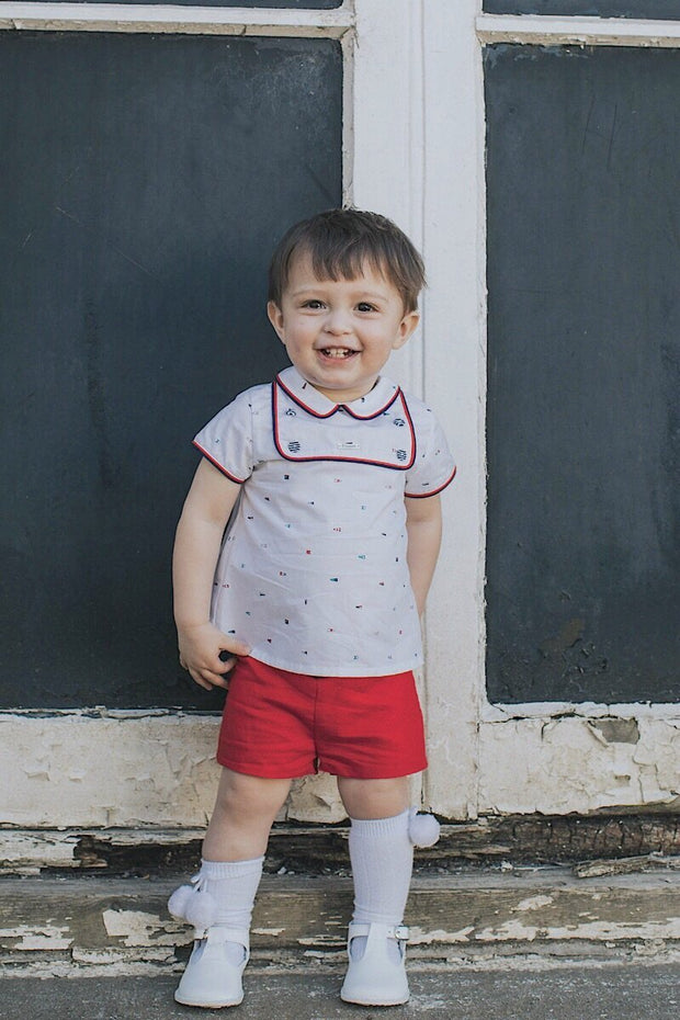Geometric Design Top And Red Shorts - Jacob Matthews