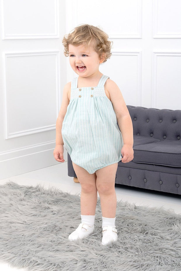 Green Stripe Smocked Romper - Jacob Matthews