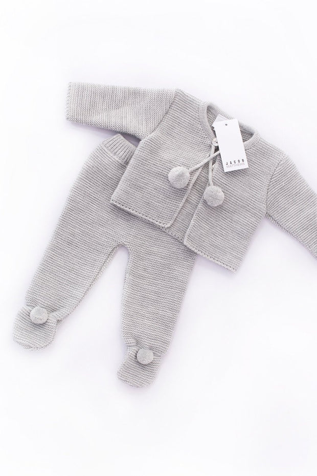 Grey Knitted Pom Pom Two Piece Set - Jacob Matthews