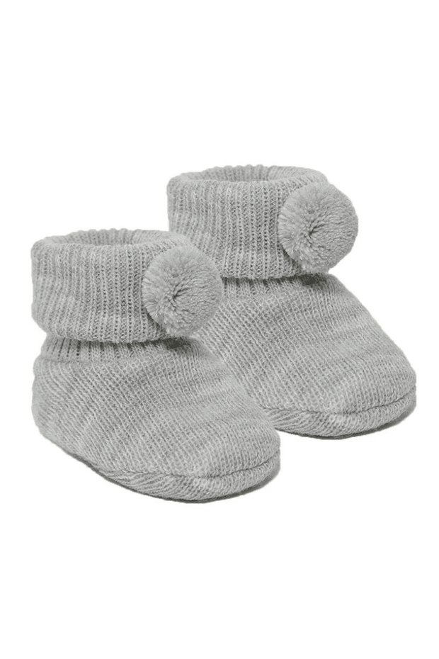 Grey Pom Pom Booties - Jacob Matthews