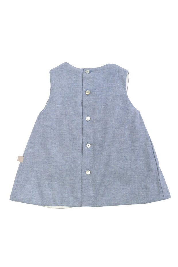 Blue Button Pinafore