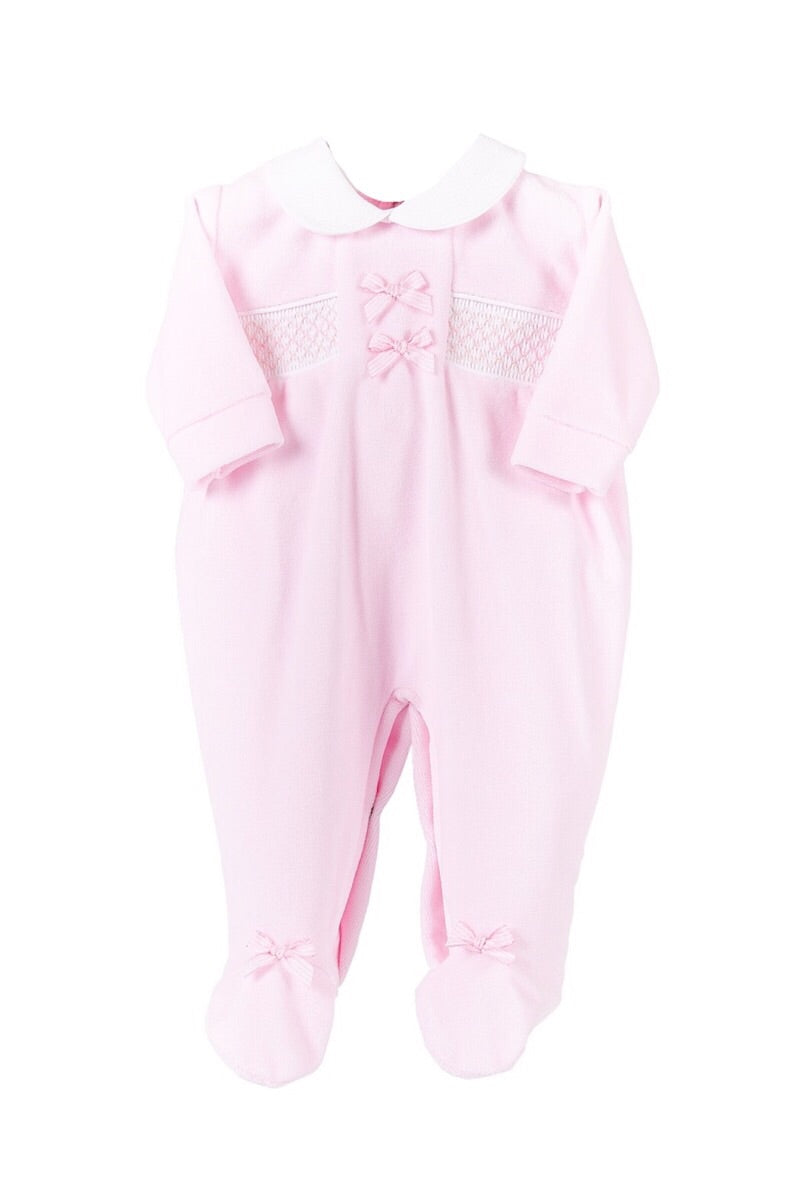 Pink Smocked Bow Velour All In One