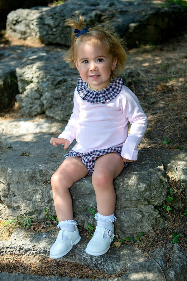 Babidu Pink Knitted Jumper With Checked Shorts