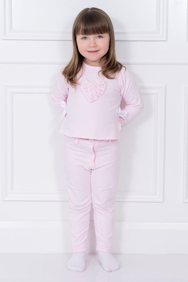 Pink Petal Heart Sweatshirt And Trousers