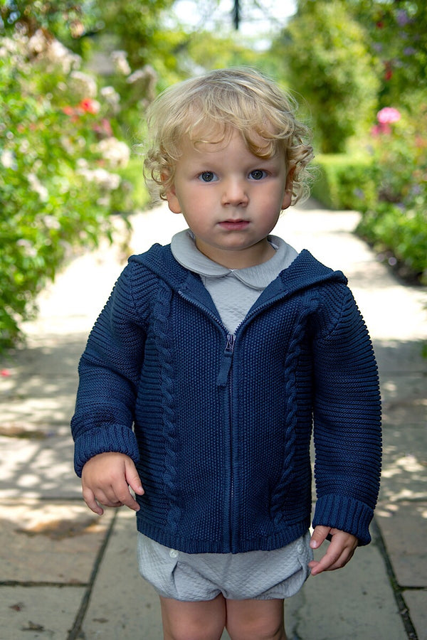 Emile Et Rose Navy Knitted Jacket With Hood