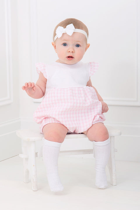 Pink Check Bow Romper