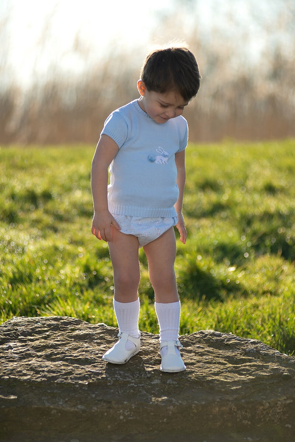 Granlei Blue Knitted Bunny Top And Shorts