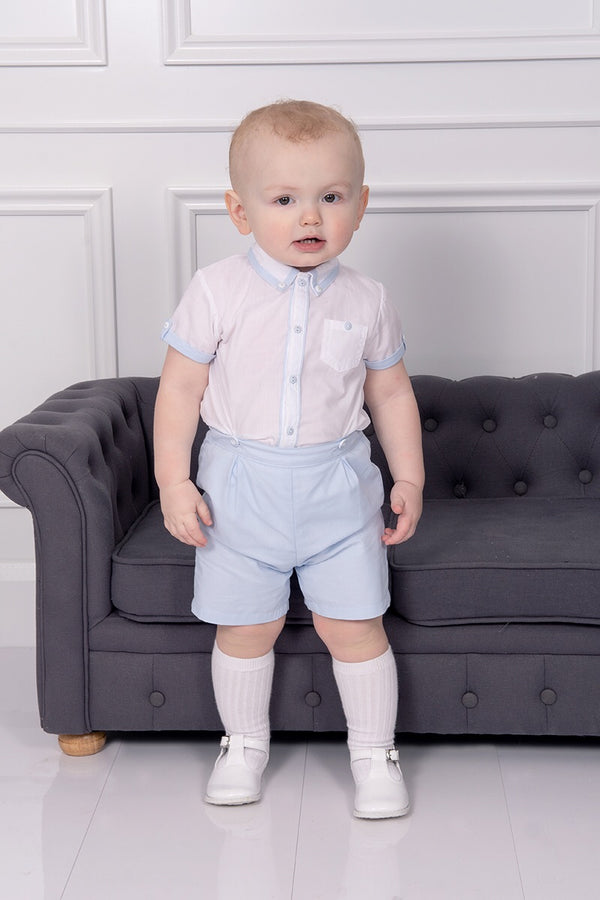 Sarah Louise Blue Shirt And Shorts Set