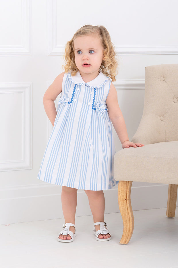 Blue Striped Bow Dress