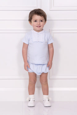 Blue Pintuck Yoke Panel Top And Shorts