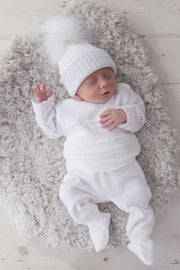 Unisex White Knitted Stripe Outfit