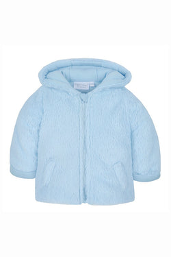 Blue Fur Hooded Zip Coat