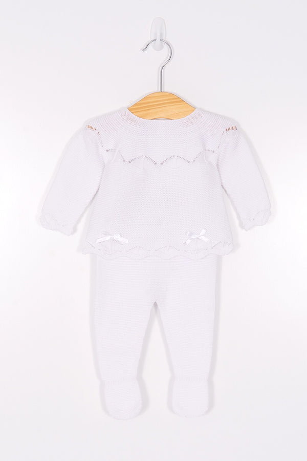 Jacob Matthews White Knitted Double Bow Top And Pants With Feet