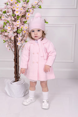 Granlei Pink Knitted Coat With Pom Pom Bonnet