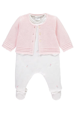 Emile Et Rose White Rosebud All In One With Pink Knitted Cardigan