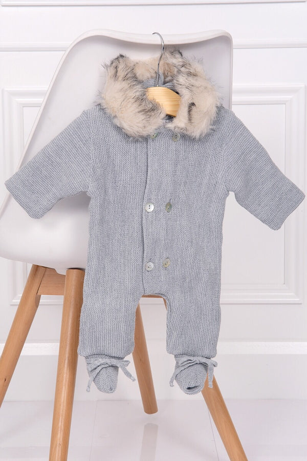 Mebi Grey Knitted Pramsuit With Feet
