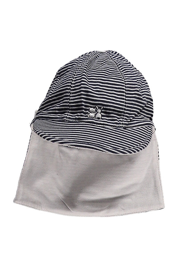 Emile Et Rose Navy Stripe Jersey Sun Hat With Detachable Flap, Navy