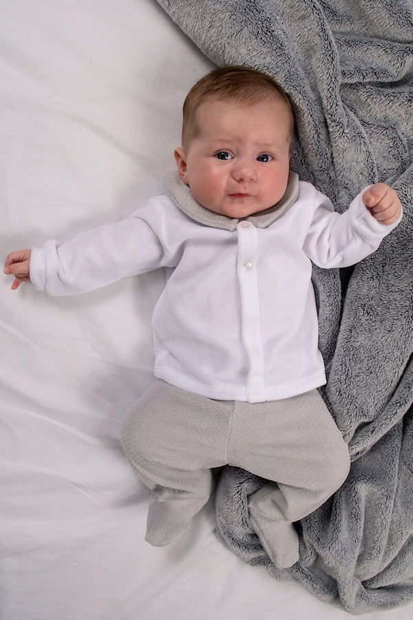 Babidu White And Grey Velour Outfit