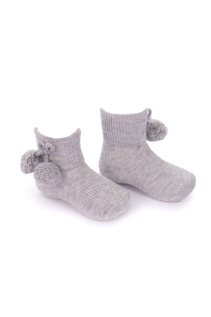 Grey Ankle Pom Pom Socks